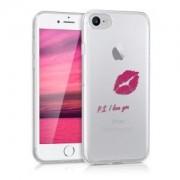 kwmobile Průhledné pouzdro s designem PS I love you pro Apple iPhone 7 / 8 - růžová
