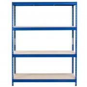 Bezskrutkový kovový regál s HDF policou 180x150x45cm, 4 políc, 250kg na policu, modrá farba