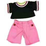 "Black And Pink Casual Outfit Fits Most 14"" 18"" Build A Bear, Vermont Teddy Bears, And Make Your Own Stuffed Animals"