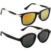 NuVew Oval, Wayfarer Sunglasses(Grey, Golden, Orange)
