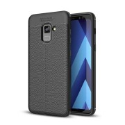 Bakeey Anti Fingerprint Soft TPU Litchi Leather Case for Samsung Galaxy A8 Plus 2018