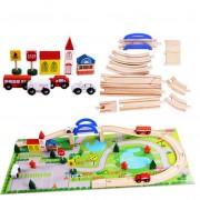 Circuit din lemn cu 40 piese - masinute, sine din lemn, peisaje