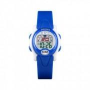 Ceas de copii sport SKMEI 1478 waterproof 5ATM cu alarma cronometru data si iluminare ecra albastru