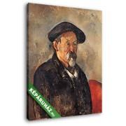 Paul Cézanne: Cézanne, önarckép svájcisapkával (20x25 cm, Vászonkép )