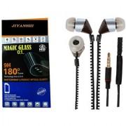 COMBO of Tempered Glass & Chain Handsfree (Black) for Intex Aqua Power Plus by JIYANSHI