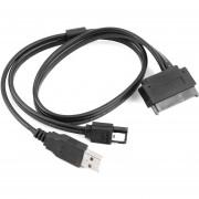 EY 2,5 Pulgadas De Disco Duro SATA 22pin A ESATA + USB Data Cable Desarrollado NUEVO (Negro)