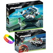 Playmobil Space Set Includes: E Rangers Turbojet With Launch Pad And Future Planet Explorer Quad With Ir Knockout Cannon And Dimple Bracelet
