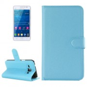 Samsung Galaxy Grand Prime Case, Samsung Galaxy G530, Litchi Texture Horizontal Flip Leather Case with Holder & Card Slots & Wallet(Blue)