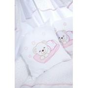 Klups Set Lenjerie de pat 3 piese Ursulet somnoros alb-pink