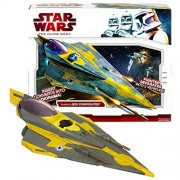 Hasbro Year 2009 Star Wars Animated Series 'The Clone Wars' Action Figure Vehicle Set - ANAKIN's JEDI STARFIGHTER...