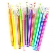 Toyvian 12 Packs Color Gel Ink Pens Set 0.5mm Tip Range Colour Pen Kit for Colouring Books Draw Write