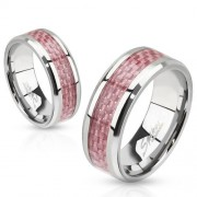 Nemesacél gyűrű rózsaszín karbon betéttel