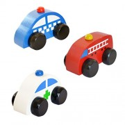 Shumee Wooden Ambulance, Police & Fire Engine Car Toys (1 Year+) - Pretend Play - Safety & Help Squad