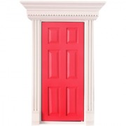 Magideal 1:12 Scale Rose Red Wooden Fairy Front Door Dolls House Miniature Accessory