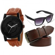 Jack Klein Combo of Trendy Round Black Dial Strap Quartz Analogue Wrist Watch Brown Leatherite Belt And Glass