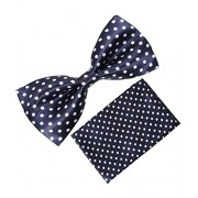 Classique Satin Pre Tied Polka Printed Blue Wedding And Party Tuxedo Bow Tie With Matching Pocket Square