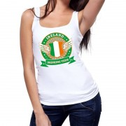 Bellatio Decorations Wit Ireland drinking team tanktop / mouwloos shirt dames
