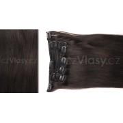 Clip in vlasy odstín 2 Sada: Základní - délka 50 cm, hmotnost 100 g