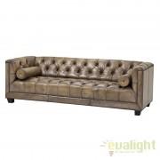 Canapea design clasic, elegant cu tapiterie din piele maslinie Paolo 108229 HZ