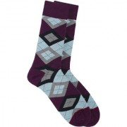 Soxytoes The Scotsman Purple Cotton Calf Length Pack of 1 Pair Argyle for Men Formal Socks (STS0016D)