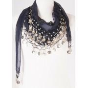 Driehoekkige muntjes sjaal marine/zilver