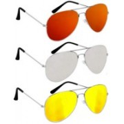 shah collections Aviator Sunglasses(Red, Yellow, Silver)