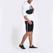 River Island Mens Black skinny tape side denim shorts (30)