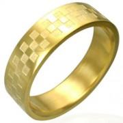 Arany színű, rácsos mintázatú nemesacél gyűrű ékszer-13,5