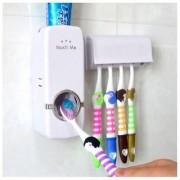 Saksham Plastic Automatic Toothpaste Dispenser & Toothbrush Holder Set