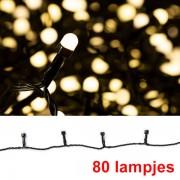 123led Led lichtsnoer zwart, 80 lampjes warm-wit voor binnen en buiten (123led huismerk)