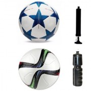 Kit of Bluestar UEFA Champions League Football + Conext15 Football (Size-5) - Pack of 2 Balls with Air Pump & Sipper