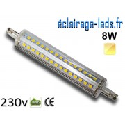 Ampoule LED R7S slim 8w smd 2835 118mm blanc chaud 230v ref r7s-11