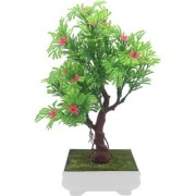Random 3 Branched Artificial Bonsai Tree with Green Leaves and Pink Flowers