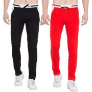 Cliths Pack of 2 Track Pants for Men (Red White Black White)