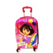 Kris toy Kris Set of 2 Bags 22 inch and 18 inches Both Side Printed Dora Trolley bag for kids Expandable Check-in Luggage - 23 inch(Pink)