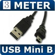 3M Metre BLACK USB 2.0 A MALE TO MINI B 5 PIN PC LONG CABLE