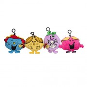 Seven20 Little Miss Mini Clip-On Plush Toy, 4 Pack - Little Miss Giggles, Chatterbox, Sunshine and Naughty