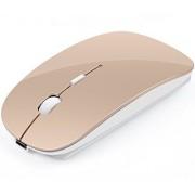 PandaVic 2.4 G recargable ultrafino mouse inalámbrico con Nano receptor, Slient clic con 3 Ajustable DPI Niveles (1000/1200/1600), compatible con Portátil, tablet, computadora portátil y Macbook., Dorado