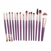 Conjunto De 15pcs Piezas Profesional Pinceles Pack Complete Maquillaje Cepillos+marrón Púrpura