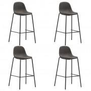 vidaXL Бар столове, 4 бр, тъмносиви, текстил