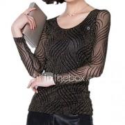 Dames Eenvoudig Lente T-shirt,Casual/Dagelijks Grote maten Gestreept Ronde hals Lange mouw Nylon Medium