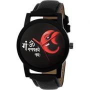 Lava CreationSport Round Ganpati design Dial Black Leather Strap Analog Watch For Men ( Sport red ganpati )