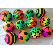 12 pcs Rainbow Sport 6 inches Bouncing Ball Neon Color Rubber Inflatable FUN Outdoor Toy