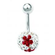Glitter Flower Navelpiercing -Vit/Röd