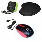 Q8N High Speed Ergonomic Design USB Mouse All In One with 3 Ports for SD/MMC/M2/MS Multi Card Reader And Mousepad (Red Green Black)