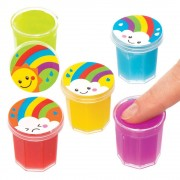 Baker Ross Rainbow Glitter Slime Pots - 10 Pots Ready Made Slime In 5 Colours. Farting Noise Putty. Slime For Party Bags. Size 3cm.