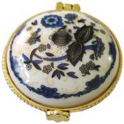 Porcelain Dark Blue Flower Round Shape Kumkum/Sindoor Box