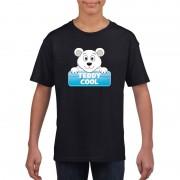 Bellatio Decorations T-shirt zwart voor kinderen met Teddy Cool de ijsbeer