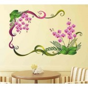 Wall Stickers Purple Orchid Flowers With Green Leaves TV LCD Background
