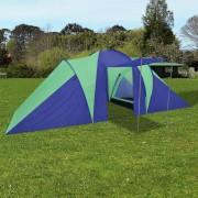 vidaXL Палатка за къмпинг за 6 човека, цвят морско син/зелен